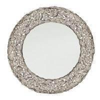 "31"" Round Gray Pebbles Metal Mirror"