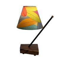 "22"" Multicolored Shade With Wooden Pole Arm Table Lamp"