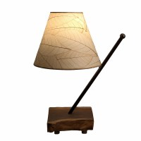 "22"" Natural Shade With Wooden Pole Arm Table Lamp"