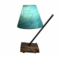 "22"" Aqua Shade With Wooden Pole Arm Table Lamp"