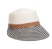 "4"" Brim White and Black Cadet Hat"