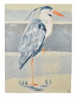 """56"""" x 42"""" Heron 1 On Gray and Beige Canvas"""