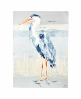 """56"""" x 42"""" Heron 2 On Gray and Beige Canvas"""