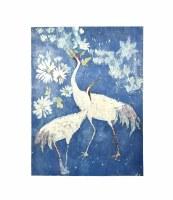 """54"""" x 40"""" Two White Cranes On Dark Blue Canvas"""