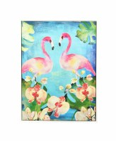 """48"""" x 36"""" Two Flamingoes With Orchids Canvas Framed"""
