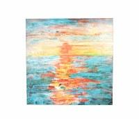 "48"" Square Orange and Turquoise Sunset Sea Canvas"