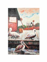 "60"" x 40"" Three Pelicans On Dock Canvas"