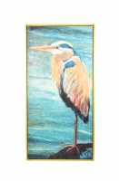"""60"""" x 30"""" Heron On Turquoise Canvas Framed"""