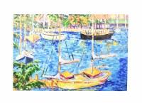 """40"""" x 60"""" Yellow Boat Marina Canvas"""