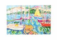 "40"" x 60"" Multicolor Boat Marina Canvas"