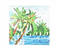 """48"""" Square Green Palm With White Sailboats Canvas"""