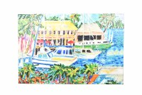 """40"""" x 60"""" Multicolor Marina With Palms Canvas"""
