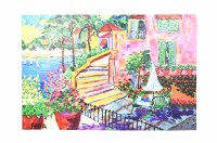 """40"""" x 60"""" Pink House By Sea canvas"""