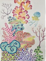 """48"""" x 36"""" Multicolored Coral With Jellyfish Canvas"""