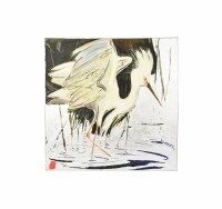 "30"" Square White Heron With Wings Out Canvas"