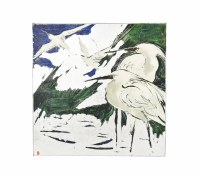 "30"" Square 2 Whtie Herons With Wings Out Canvas"