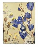 "48"" x 36"" Blue Flowers On Framed Canvas"