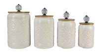 Set of 4 White Canisters With Glass Knobs