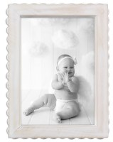 "5"" x 7"" White Washed Bead Wooden Frame"