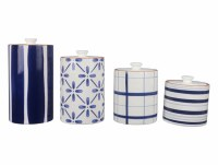 Set of 4 Blue and White Pattern Canisters