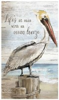"""24"""" x 14"""" Life Ease With Ocean Breeze Pelican Plaque"""