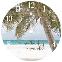 "16"" Round Another Day In Paradise Clock"