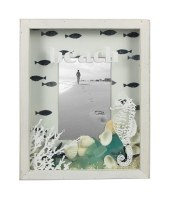 "4"" x 6"" Seaglass and Seashell Picture Frame"