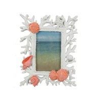 "4"" x 6"" White Washed Picture Frame With Coral Shells"