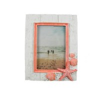"4"" x 6"" White Washed Picture Frame With Coral Shells On The Corner"