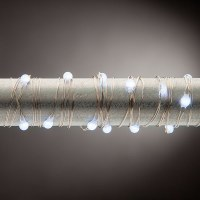 20' 60 LED Battery Operated Bright Cool White Micro Lights With Silver Wire