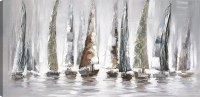 """30"""" x 60"""" Multicolored and Gray Sailboats On Canvas"""