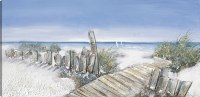"""30"""" x 60"""" Blue and Gray Boardwalk and Beach Canvas"""