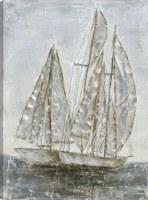 """47"""" x 35"""" 2 Gray Sailboats at Sea Canvas"""