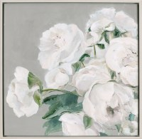 "32"" Square White Flowers Facing Left On Gray Canvas"