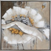 """40"""" Square White, Gray and Gold Flower On Framed Canvas"""