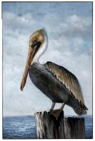 """48"""" x 32"""" Pelican On Piling Framed Canvas"""