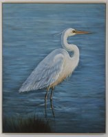 """50"""" x 40"""" White Heron On Blue Water Framed Canvas"""