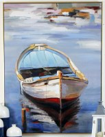 """46"""" x 35"""" Red, White and Blue Dinghy On Framed Canvas"""