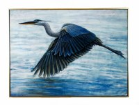 """36"""" x 48"""" Blue Heron Flying Over Water On Framed Canvas"""