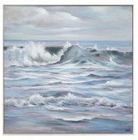 "40"" Square Silver and Gray Waves Framed Canvas"