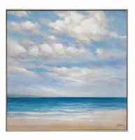 """40"""" Square Blue Water Beach Framed Canvas"""