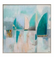 "40"" Square Coastal Sail 1 Framed Canvas"