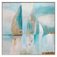 "40"" Square Coastal Sail 2 Framed Canvas"