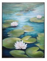 "48"" x 36"" Waterlilies On Framed Canvas"