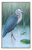 "50"" x 30"" Blue Heron With Trolly Framed Canvas"