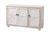 "50"" White Washed 3 Starfish Door Credenza"