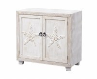 "34"" White Washed 2 Starfish Door Cabinet"