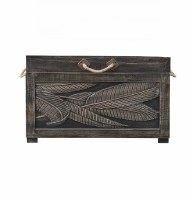 "31"" Brown Wooden Trunk With Leaf Design"