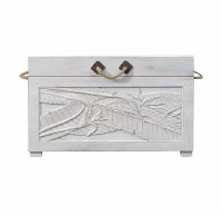 "31"" Antique White Finish Wooden Trunk With Leaf Design"