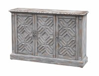 "55"" Gray 3 Door Credenza With ""X"" Design"